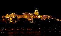 An illuminated house, Budapest, Hungary