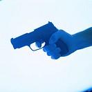 Human hand holding a pistol (tungsten)