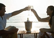 Young couple clinking champagne glasses on beach