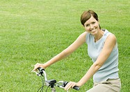 Woman on bicycle, portrait