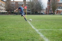 Footballer taking a corner