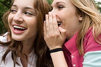 Two teenage girls gossiping (thumbnail)