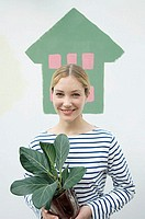 Woman with houseplant