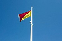 Red and yellow beach flag