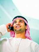 Arab man using mobile phone