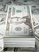 Stack of twenty dollar notes