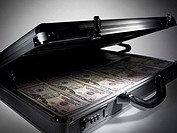 Briefcase full of fifty dollar notes