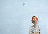Boy wearing fireman´s hat