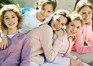 Group of preteen girls, smiling