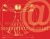 Leonardo da Vinci´s Vitruvian Man with Binary Digits