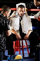 Businessman Boxer Resting Between Rounds