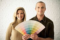 Couple with Paint Color Swatches