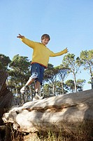 Boy Balancing on a Fallen Tree