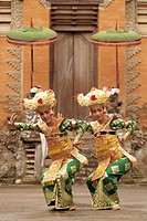 Indonesia, Bali, Ubud, two Legong dancers performing, portrait