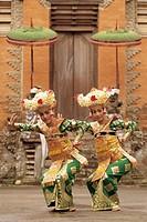 Indonesia, Bali, Ubud, two Legong dancers performing, portrait