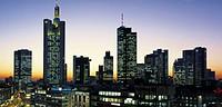 Germany, Frankfurt, Hesse, city skyline, sunset
