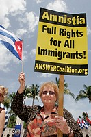 May Day Rally, amnesty, immigration, Cuban flag, Hispanic. Torch of Friendship. Biscayne Boulevard. Miami. Florida. USA