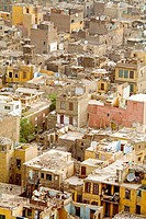 Elevated view on houses roofs. City of Cairo. Egypt