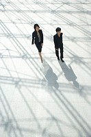 Two businesswomen walking with shadows, elevated view
