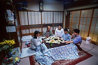 Family room dinner setting in typical Japanese home in Kyoto