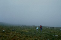 Father and daughter explore Hellroaring Plateau in the Beartooth Mountains, Montana