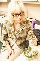 Office Worker Eating Salad