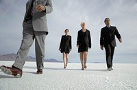 Four business people walking in desert, low angle view