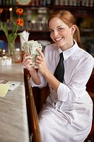 Waitress Flashing Money