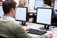 Man Working In Computer Lab