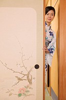 Woman in Kimono Opening Door Screen (thumbnail)