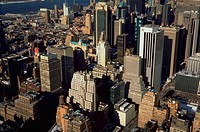 Aerial view of New York City skyline.