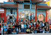 Crowd waiting in front of the main entrance to the Los Angeles Chinatown for the Chinese New Years Parade