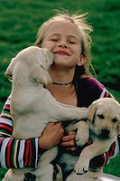Young girl holding two eight-week old  yellow labrador puppies as one of the puppies licks her face.