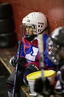 6 year old boy playing hockey.  MR-0435