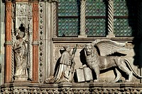 Sculptures on a palace, Doges Palace, Venice, Veneto, Italy