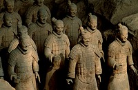 High angle view of the statues of Terracotta Soldiers, Museum Of Qin Terra Cotta Warriors And Horses, Xi´an, Shaanxi Province, China