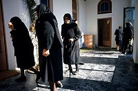Senior woman walking in a hall, Crete, Greece