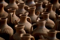 Close-up of jugs, Crete, Greece