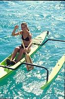 Polynesian Woman, Outrigger Canoe