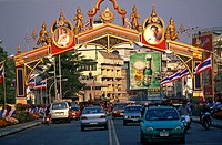 Low angle view of a gate on the road, Thailand
