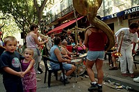 Group of musicians performing in the street, Provence, France