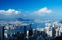 Hong Kong, business district skyline, view from above