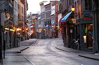St Paul street Old Montreal early morning Montreal. Quebec. Canada