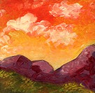 'Santa Monica Mountains Sunset' 6 x 6' Oil on canvas. 2003