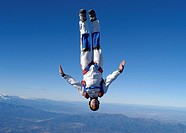Skydiver, suitors case, headlong,    Man, Rolf Kuratle, parachutists, extreme athletes, athletes, ´head-down´, sport, extreme sport, parachute jump, p...