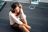Woman, young, headphones, music hears,  Relaxation, detail, from above,   20-30 years, long-haired, brunette, floor, music audition, recuperation, fav...