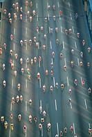 Bicyle race on the Benjamin Franklin Bridge, Philadelphia.