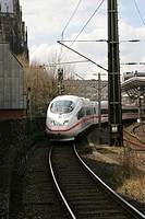 Railway. An intercity train leaving Cologne, Germany