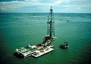 Lagoven Oil Company drilling platform on Lake Maracaibo, Zulia State, Venezuela.