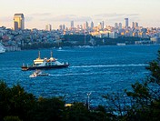 View of a cargo ship passing through the Bosphorus Sea in Istanbul, Turkey.
